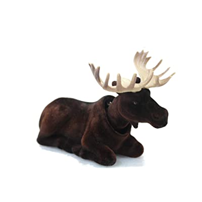 Batty Bargains Mighty Bobblehead Moose with Car Dashboard Adhesive (Dark Brown): Toys & Games
