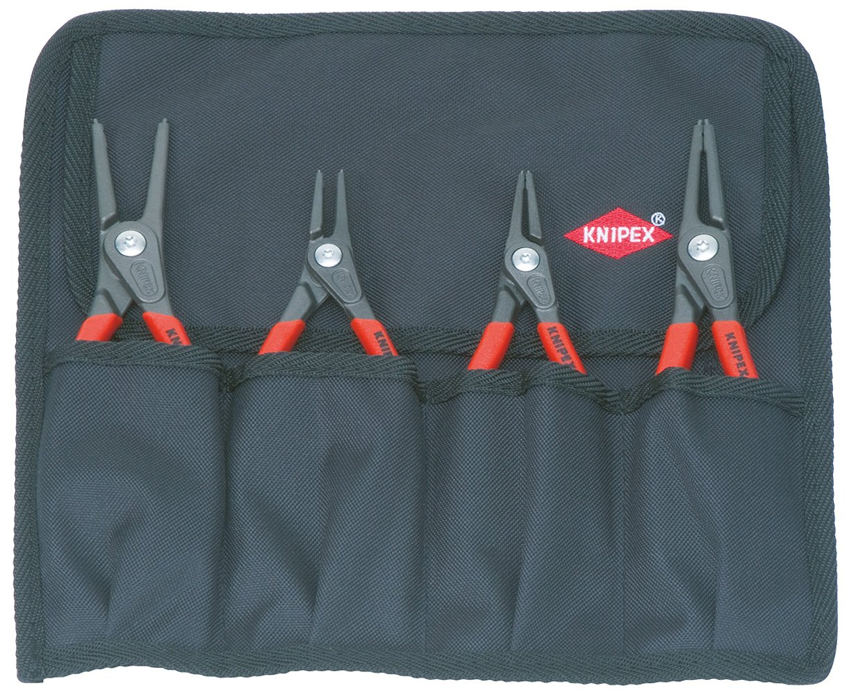 KNIPEX Tools 00 19 57 Precision Circlip Pliers Set in Tool Roll (4-Piece), 5 Pack by KNIPEX Tools
