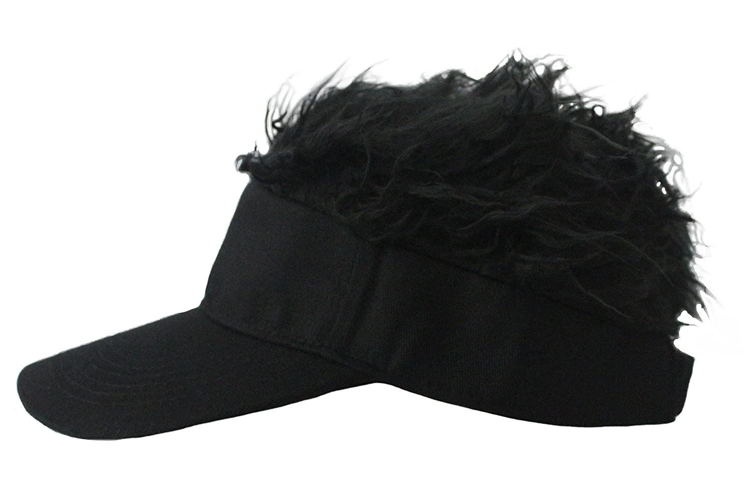 Amazon.com  Mens Creative Novelty Sun Visor Cap with Fake Hair (Black-b)   Clothing 301b6133781