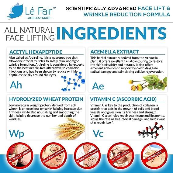 ... Crema facial antienvejecimiento Lé Fair - Elimina las líneas finas, la hinchazón, las ojeras y las bolsas - Crema antiarrugas con péptidos, vitamina C ...