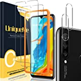 [2+2 Pack] UniqueMe Screen Protector and Camera Lens Protector Compatible for Huawei P30 Lite,HD Clear [Easy Installation Fra