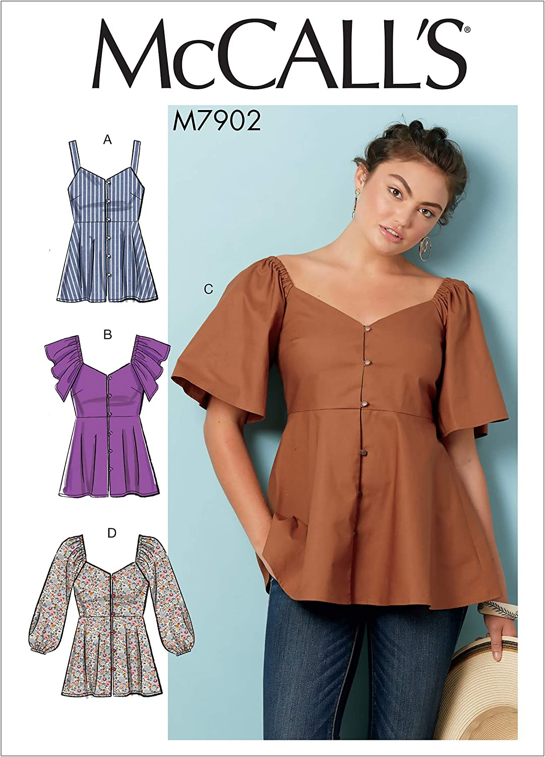 McCall Pattern Company McCalls M8014A5 Womens Button-Up Close Fitting Blouse Sewing Patterns by Melissa Watson for Palmer//Pletsch Sizes 6-14