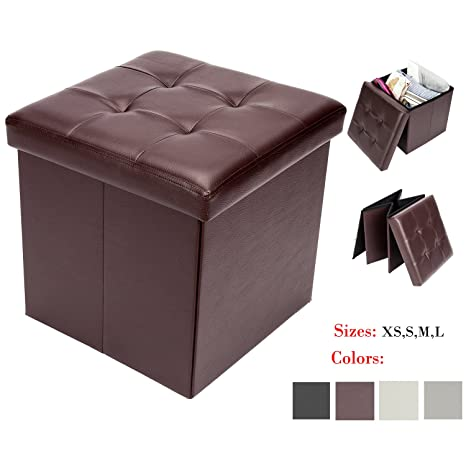 Fantastic Bonnlo 15 Faux Leather Folding Storage Ottoman Cube Bench Foot Rest Seat Coffee Table Brown Pabps2019 Chair Design Images Pabps2019Com
