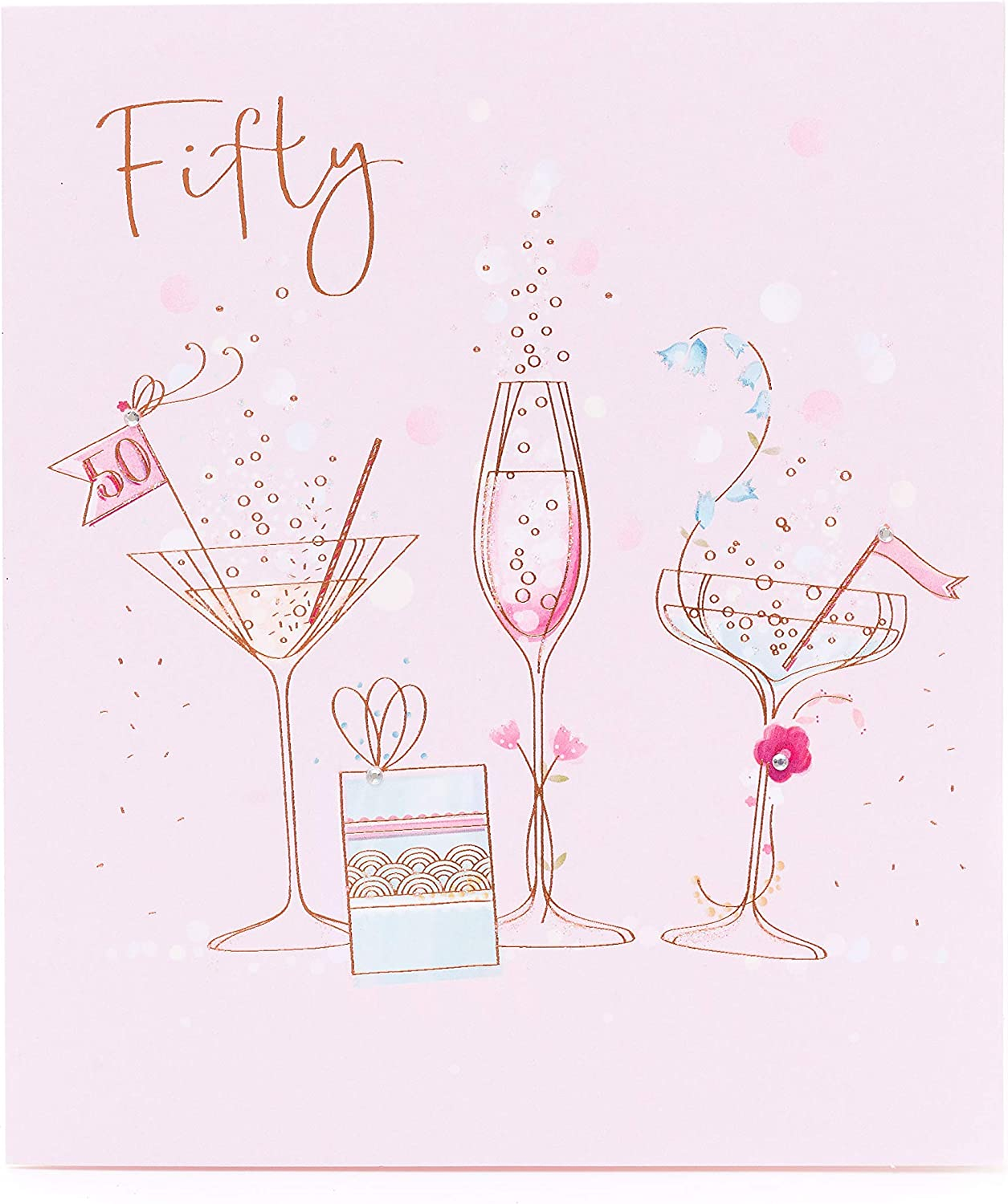 50th Birthday Card Birthday Card For Her Friend Birthday Card Fun Cocktail And Champagne Design Amazon Co Uk Office Products