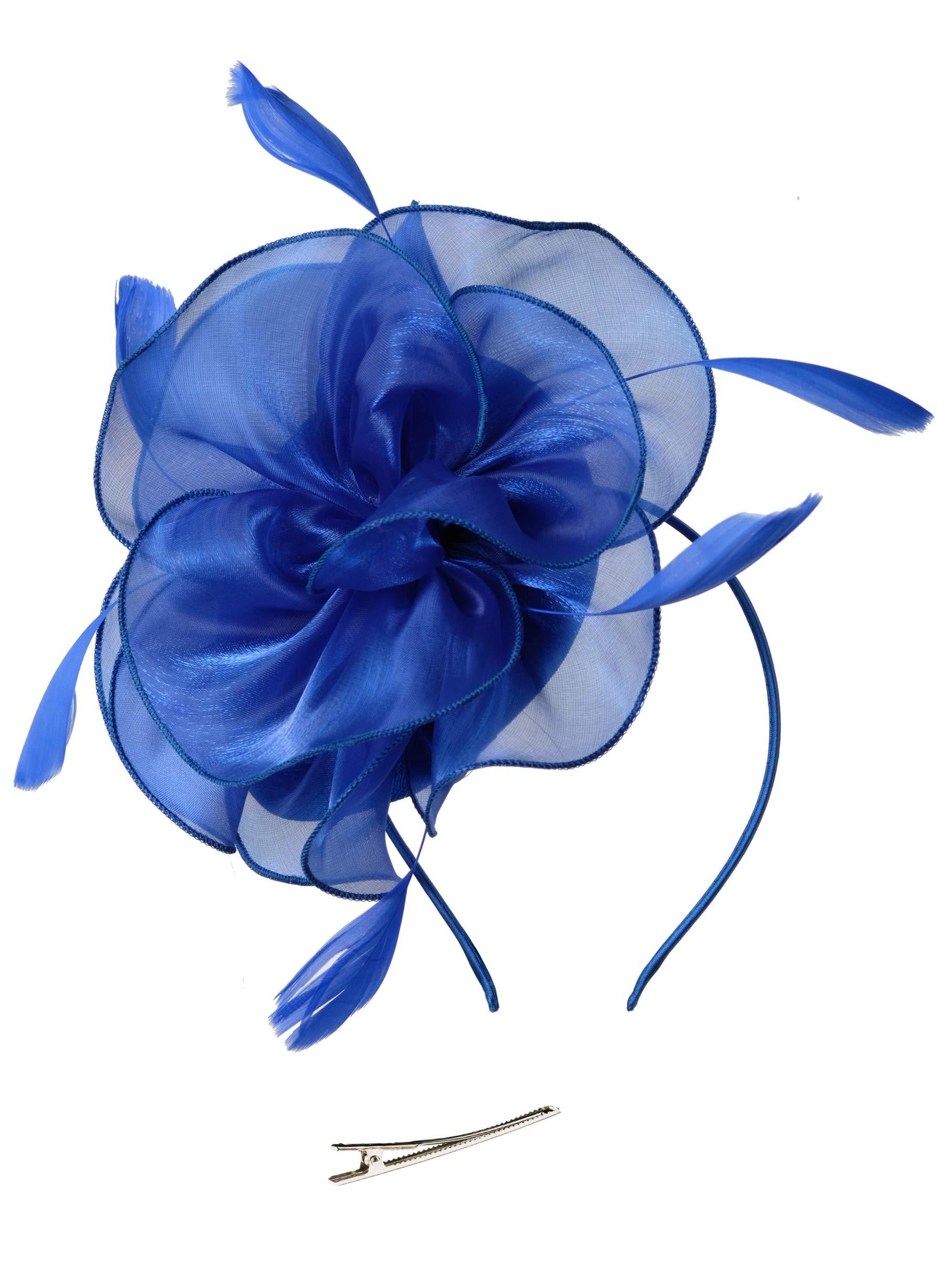 Fascinators Hat for Women Tea Party Headband Kentucky Derby Wedding Cocktail Flower Mesh Feathers Hair Clip (2-Blue)