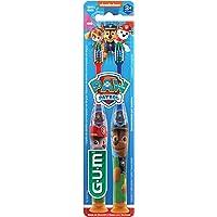 Escova Dental Infantil GUM Patrulha Canina, cerdas macias e limpador de língua, 2 unid, Gum, Sortidas, pacote de 2
