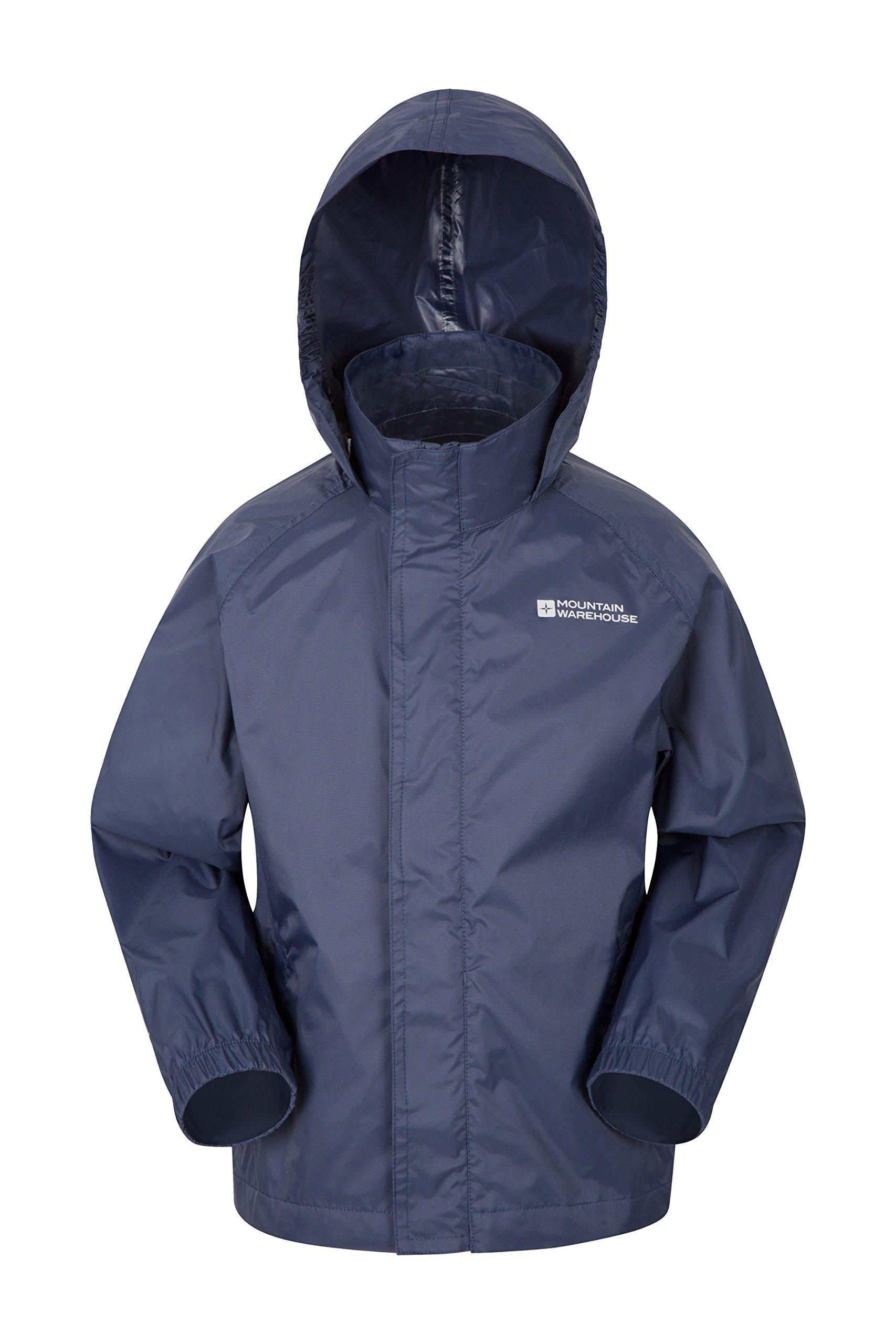 Mountain Warehouse Pakka Kids Rain Jacket - Waterproof, Packable Dark Blue 7-8 Years by Mountain Warehouse