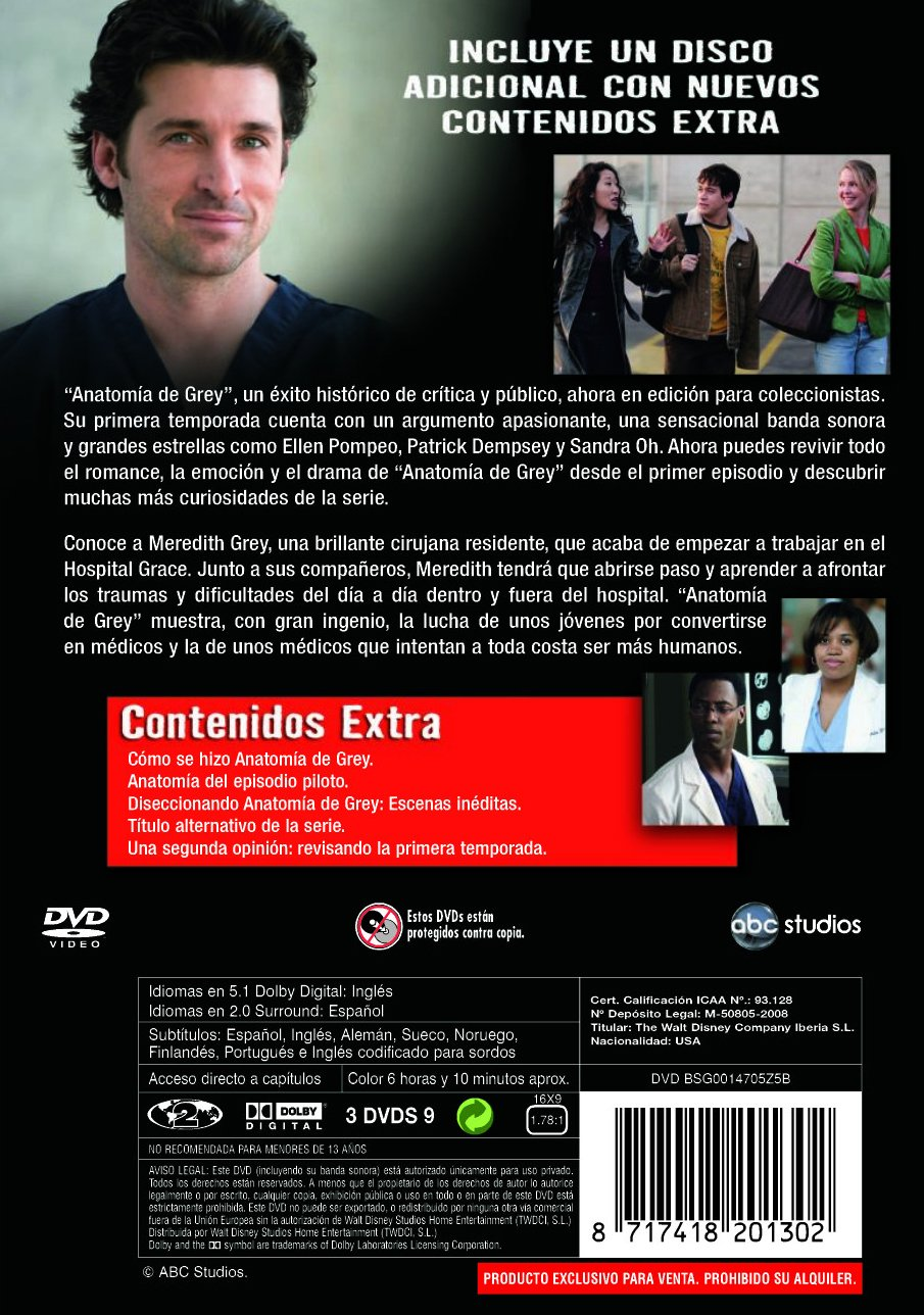 Anatomia de Grey 1ª temporada Edición coleccionista DVD: Amazon.es ...