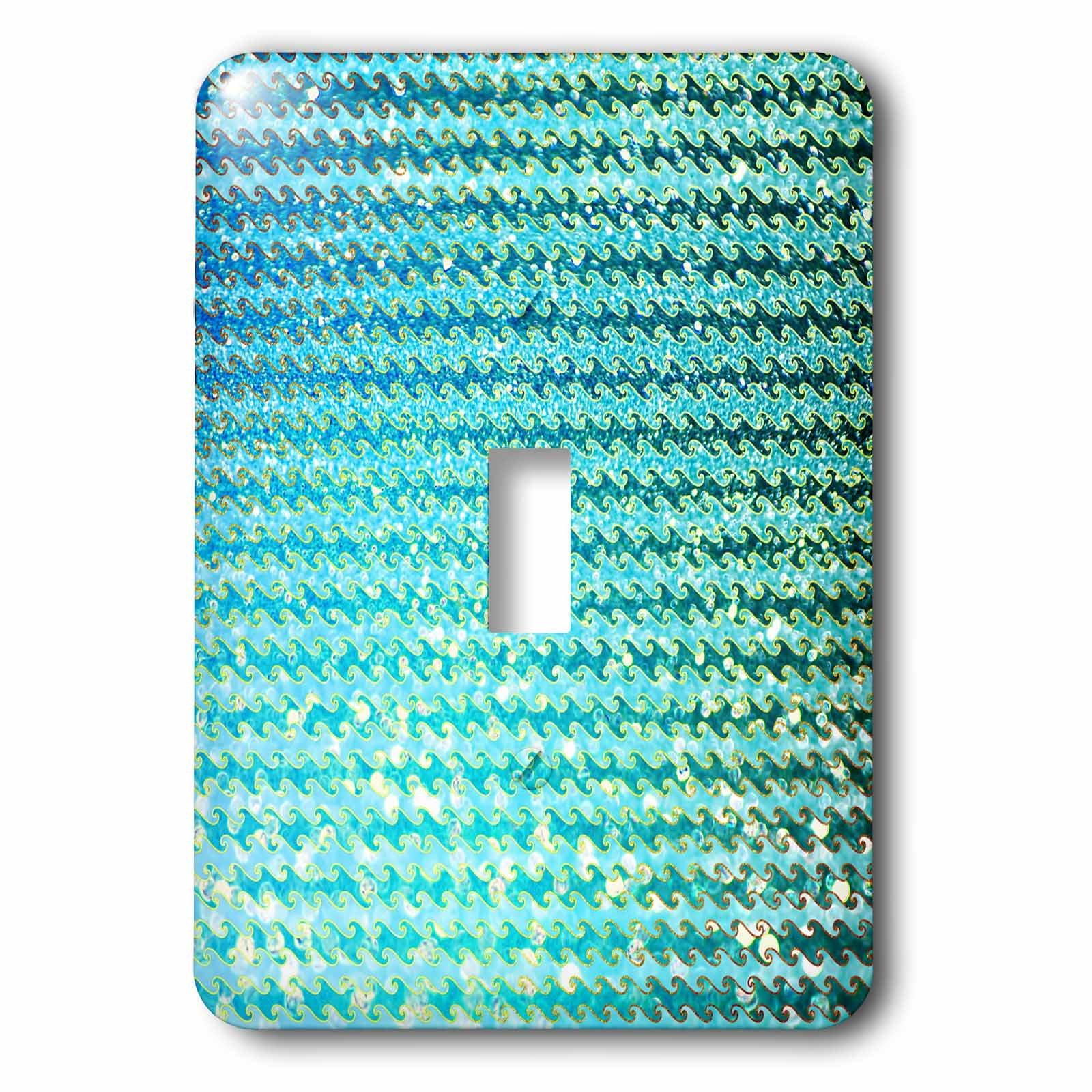 3dRose Uta Naumann Faux Glitter Pattern - Sparkling Teal Luxury Elegant Mermaid Sea Ocean Waves - Light Switch Covers - single toggle switch (lsp_272858_1)