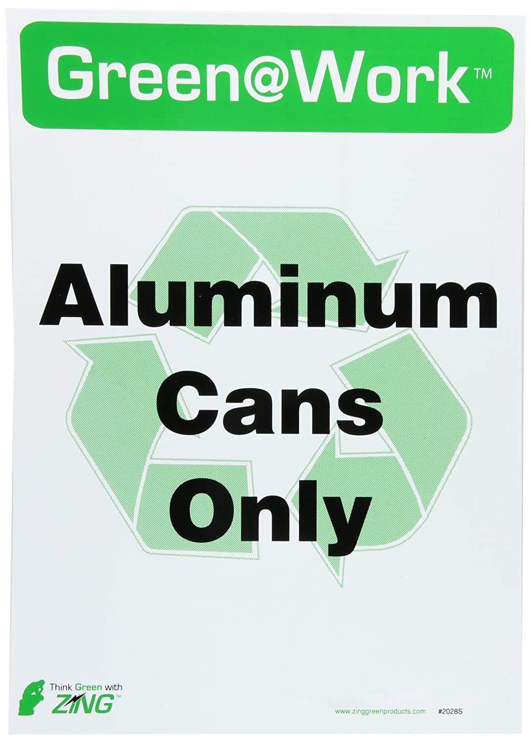 5//Pk ZING 1028S Eco Label 7Hx10W Recycle Recycled Aluminum Cans Recycled Polystyrene Self Adhesive
