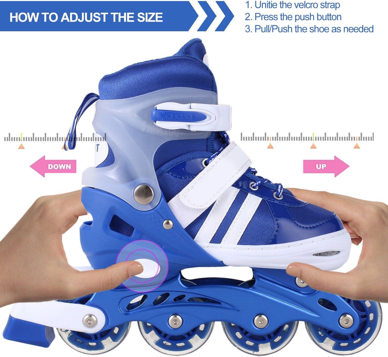 WeSkate Inline Skates for kids Roller Skate Blades with Adjustable Size 31-42 /& Flashing Light Up Wheels for Boys Girls Teens Women