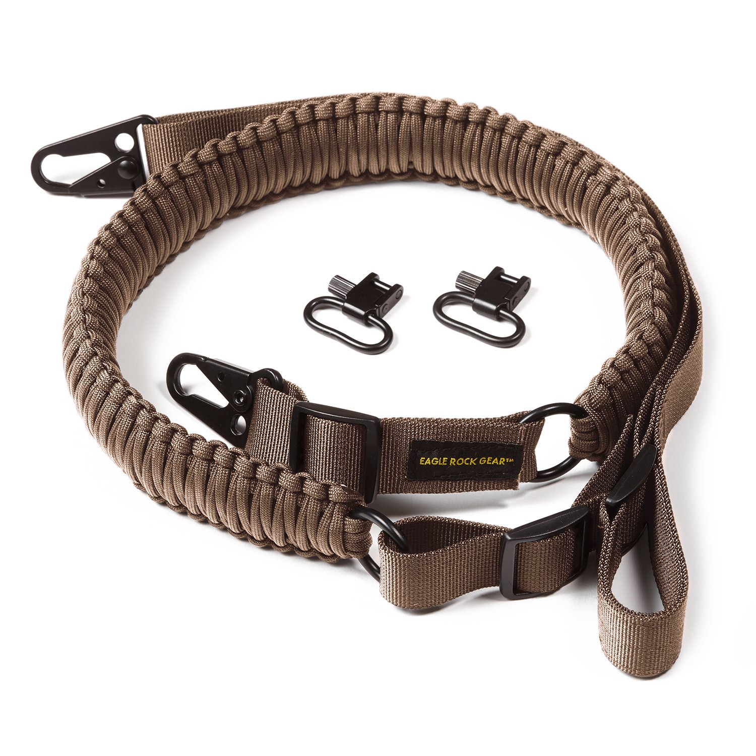 Eagle Rock Gear 550 Paracord 2 Point Gun Sling for Rifles, Shotguns, Crossbows, Airsoft - with Easy Adjustable Strap, HK Clips, Swivels (Tan) by Eagle Rock Gear