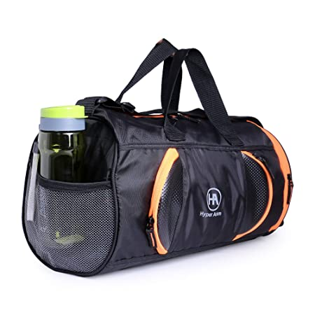 Buy Hyper Adam 27L Water Resistant Gym/Trekking/Travel/Sports Duffel/Duffle Bag with shoe compartment for Men and Women(Black-Orange) at Amazon.in