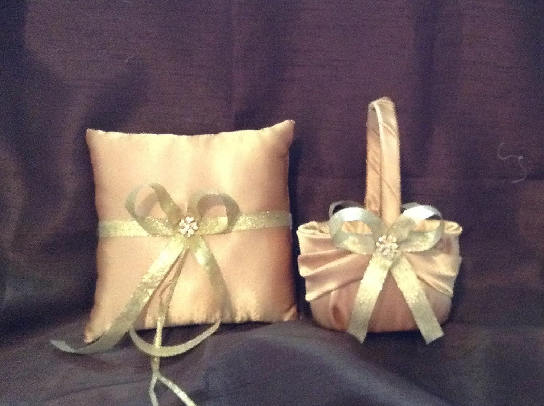 wedding ring bearer pillow and flower girl basket gold ribbon over gold satin
