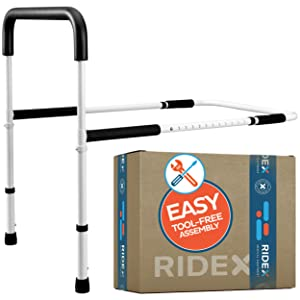 Bed Assist Hand Rails with Legs for Elderly - Adjustable Foam Padded Safety Support Handles for Bedside Assistance, Handicap, Adults, Seniors - Sturdy Medical Safety Equipment for Hospital, Bedroom