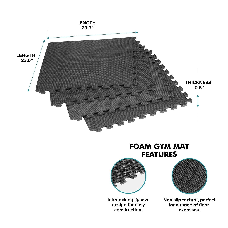 Rubber mats gym interlocking - Amazon Com Gold Coast Interlocking Exercise Floor Tiles 24 Square Feet Sports Outdoors