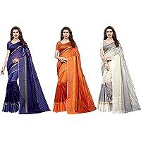 GoSriKi Cotton Saree with Blouse Piece (Pack of 3) (TS-03-ORANGE-BLUE-WHITE_Multicolor_Free Size)
