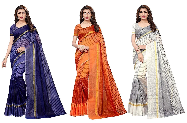 GoSriKi Polycotton saree with blouse piece – pack of 3