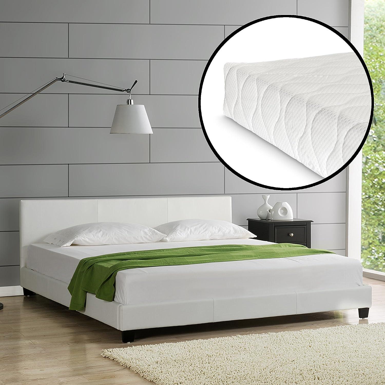 Corium] Cama de Cuero sintético Moderna (Barcelona) - con [Neu.Haus] colchón de Espuma fría (200 x 200) (Blanco)