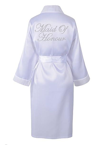 CrystalsRus Varsany White Maid Of Honour Satin Rhinestone Bathrobe  Personalised Diamante Dressing gown Kimono  Amazon.co.uk  Kitchen   Home 5a68bbc24
