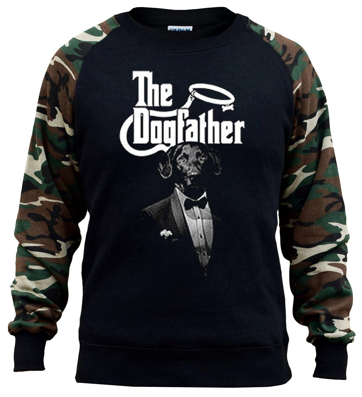 Interstate Apparel Mens The dogfather Black//Camo Raglan Baseball Sweatshirt Black