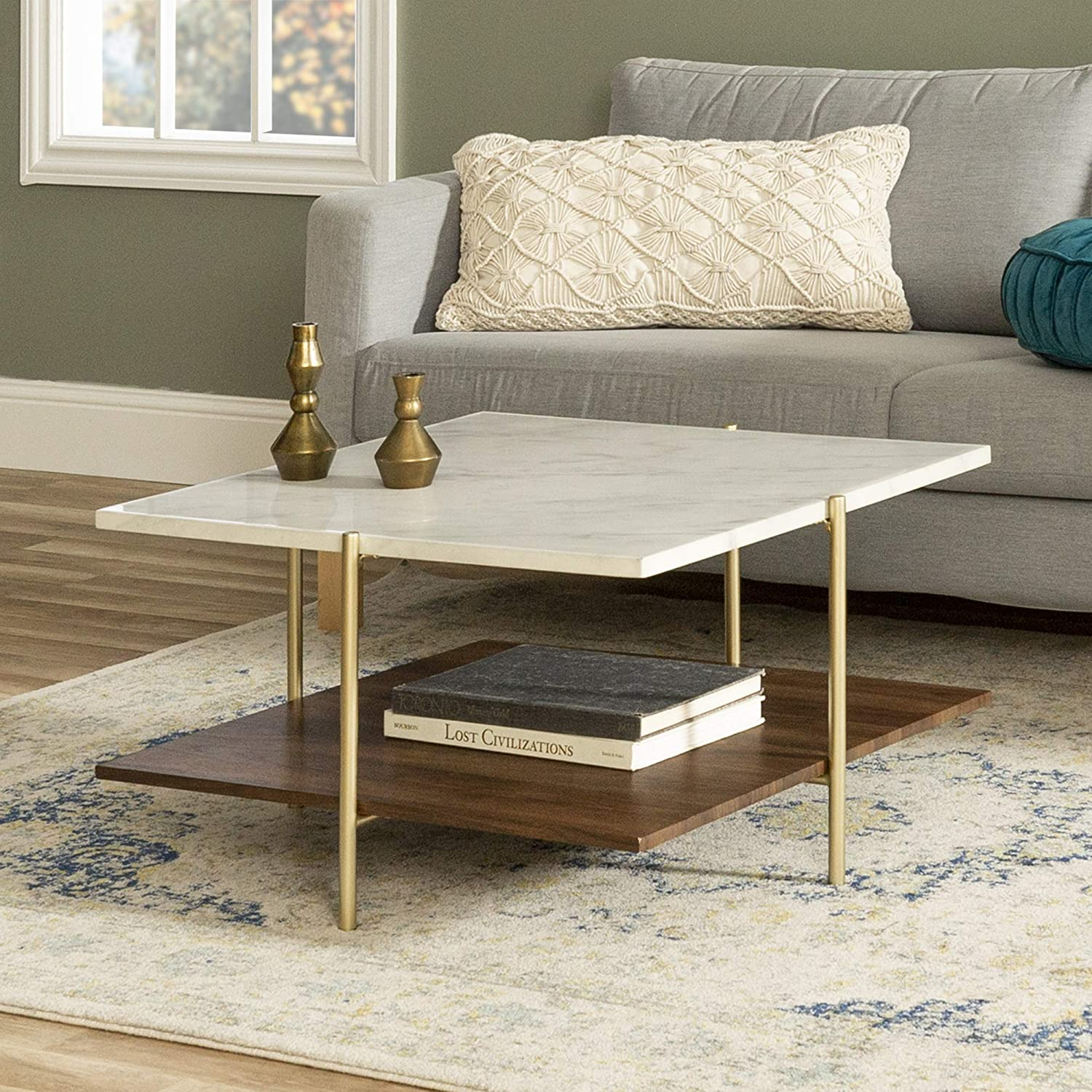 Amazon Com Walker Edison Modern Metal Base Square Coffee Table Living Room Accent Ottoman Storage Shelf 32 Inch Marble Gold Furniture Decor