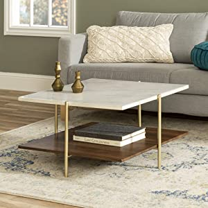 Walker Edison Modern Metal Base Square Coffee Table Living Room Accent Ottoman Storage Shelf, 32 Inch, Marble, Gold