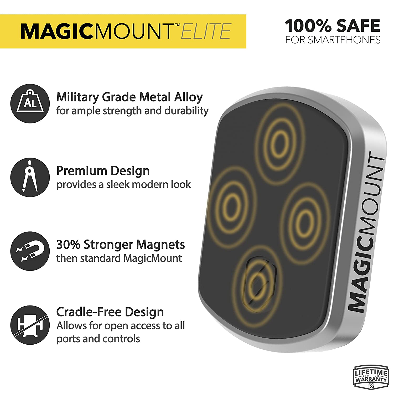 Home or Office Scosche MEDSG-XTET Magicmount Elite Universal Magnetic Smartphone//GPS Mount for The Car Space Gray