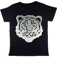 Enfants Garçons Filles Emoji Tigre T-Shirt DE Football Tee Top Brosse Changement DE Sequin 3-14 Ans