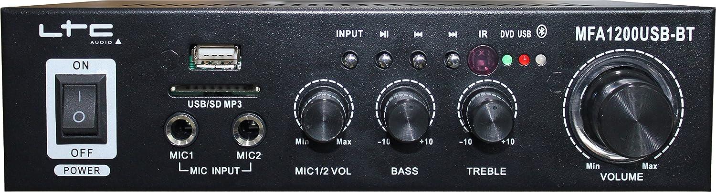 LTC MFA1200USB-BT-BL - Amplificador para karaoke (estéreo, 2 x 50 ...