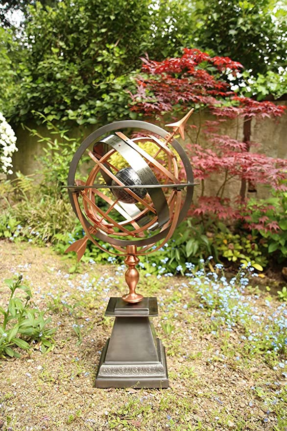 Sonnenuhr Eisen Kupfer Garten Dekoration Antik-Stil  Weltkugel 93cm
