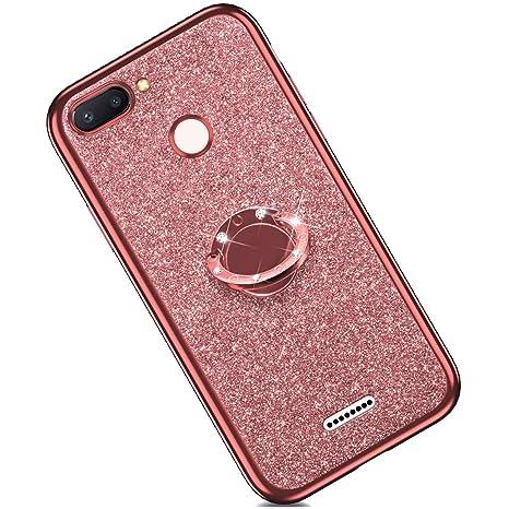 Felfy Anillo Funda Compatible con Xiaomi Mi 8 Lite Carcasa Diamante,Compatible con Funda Xiaomi Mi 8 Lite Purpurina Brillante Brillo Case con Anillo ...