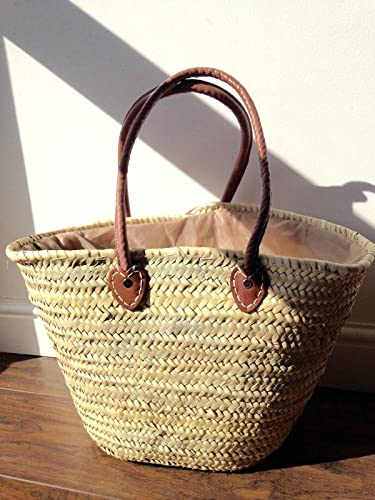 Large Straw Beach Bag with Brown Leather Handles: Amazon.co.uk ...