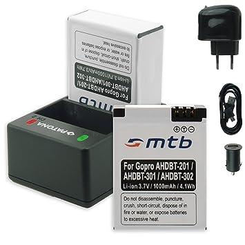 PATONA Cargador Doble (USB/Coche/Corriente) + 2X Baterías AHDBT-301/-302 [3.7V / 1000mAh] para GoPro Hero3 & Hero3+ Black White Silver Edition