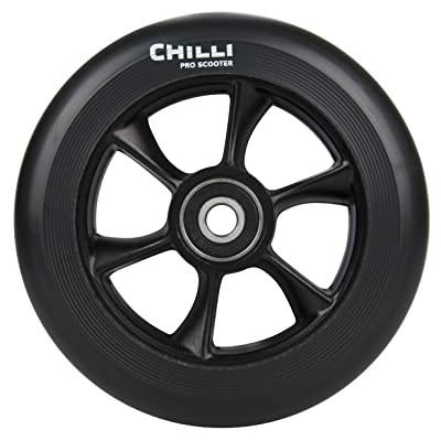 Chilli Pro Scooter Wheels 110mm Urethane - Turbo Pro Scooter Replacement Wheels - Black Pro Scooters Wheels & ABEC 9 Bearings w/Aluminum Hubs - Freestyle Stunt Scooter Wheel - (1 Single Wheel): Toys & Games