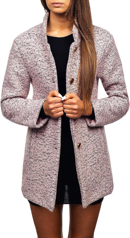 BOLF Mujer Abrigo Cierre De Botones Cuello Alto D4D Motivo