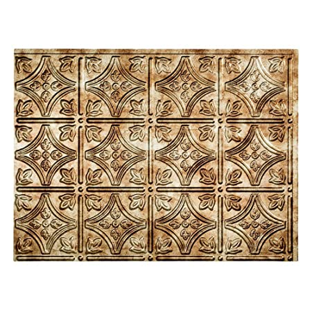 Fasade Easy Installation Traditional 1 Bermuda Bronze Backsplash Panel for Kitchen and Bathrooms 18 sq ft Kit