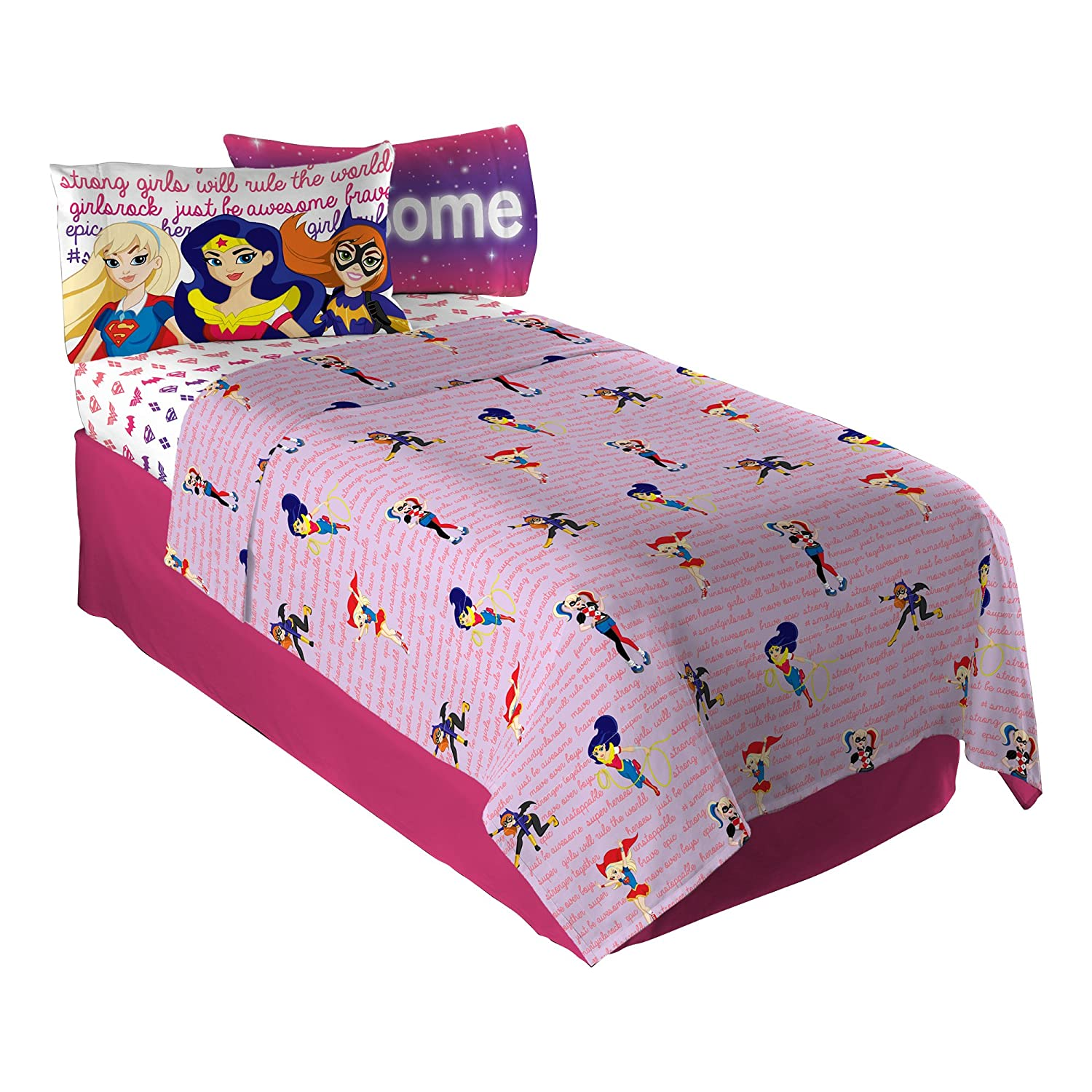 Amazon.com: Warner Bros DC Super Hero Girls Cosmic Girl Twin Sheet Set:  Home U0026 Kitchen