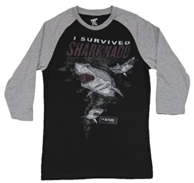 146f8975b1 I Survived Sharknado Licensed Authentic Raglan Baseball Tee T Shirt Retro  Movie Comedy