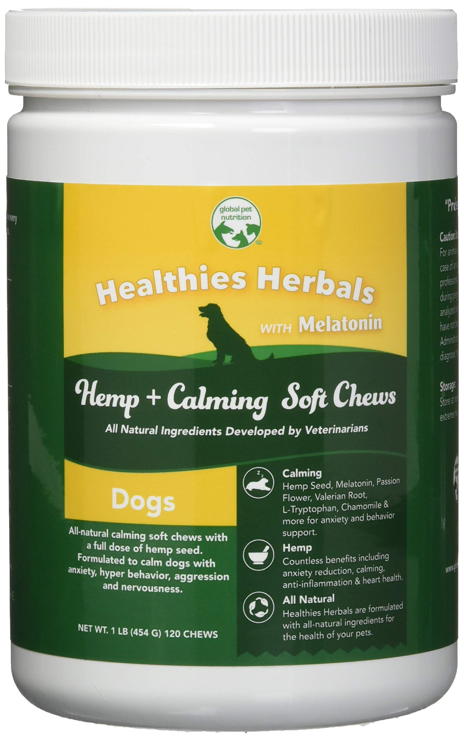 Global Pet Nutrition All-Natural Calming Soft Chews with Full Dose of Hemp Powder & Hemp Oil + Full Dose of Calming Matrix | Anxiety, Barking, Stress & Hyperactivity Relief | 120 Chews Great Value