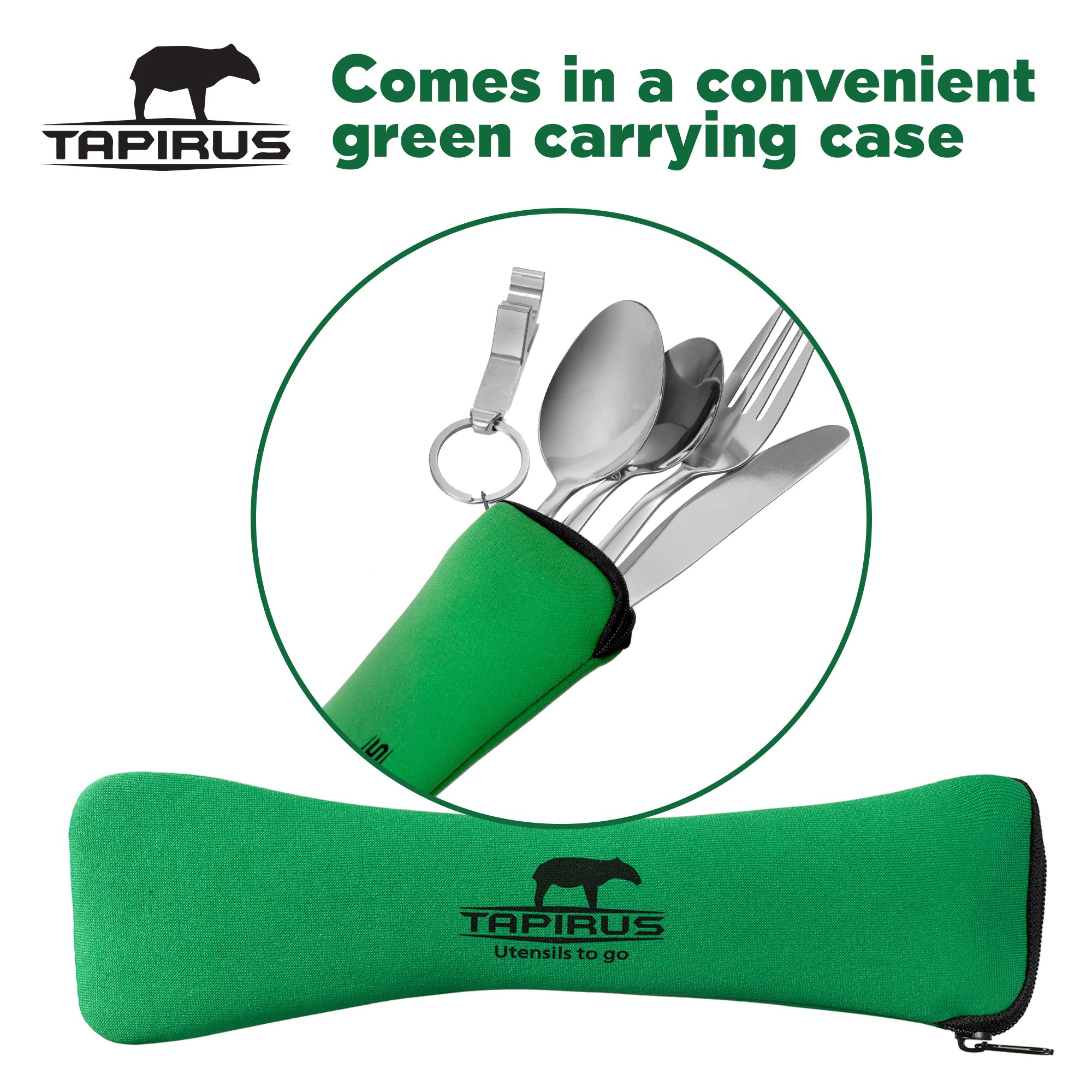 Tapirus Camping Eating Utensils To Go   Durable Stainless Steel Lightweight Construction Flatware   Travel Mess Cutlery Kit With Spoon, Teaspoon, Knife, Fork & Bottle Opener   Comes In A Carrying Case by Tapirus (Image #6)