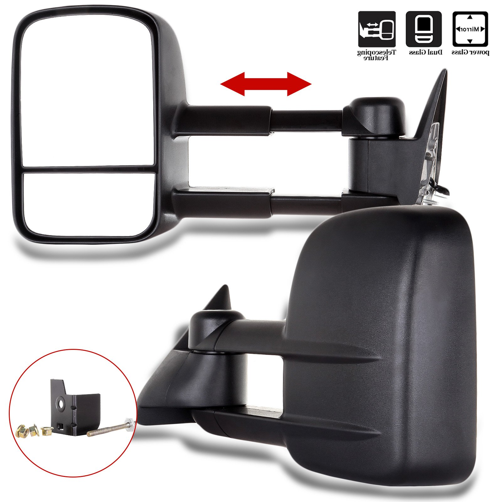 SCITOO Towing Mirrors, fit Chevy GMC Exterior Accessories Mirrors fit C1500 C2500 C3500 K1500 K2500 K3500 1988-1998 with Convex Glass Power Adjusting Manual Telescoping by SCITOO