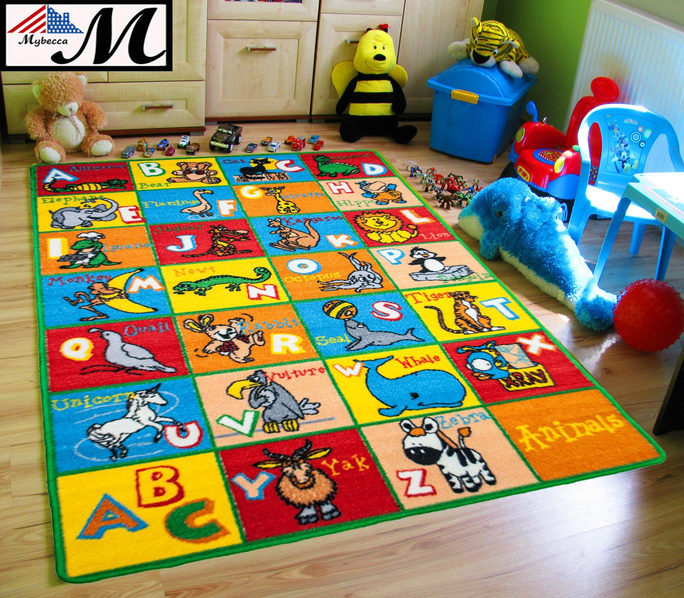 Mybecca Kids Rug alphabet Animals Area Rug 3' x 5' Children Area Rug for Playroom & Nursery - Non Skid Gel Backing 39'' x 58''