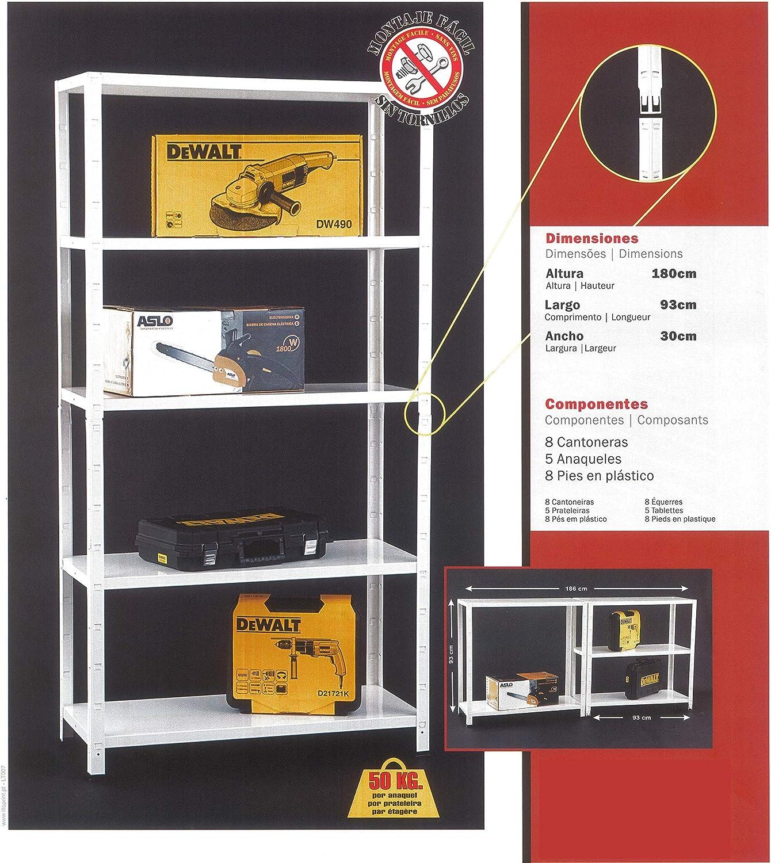 50 kg NAWA Kit Estanter/ía Met/álica 180x93x30cm Blanca 5 Baldas Capac
