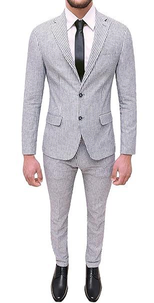 Abito completo uomo sartoriale in lino bianco grigio slim fit elegante  estivo  Amazon.it  Abbigliamento 93c256dc7bf