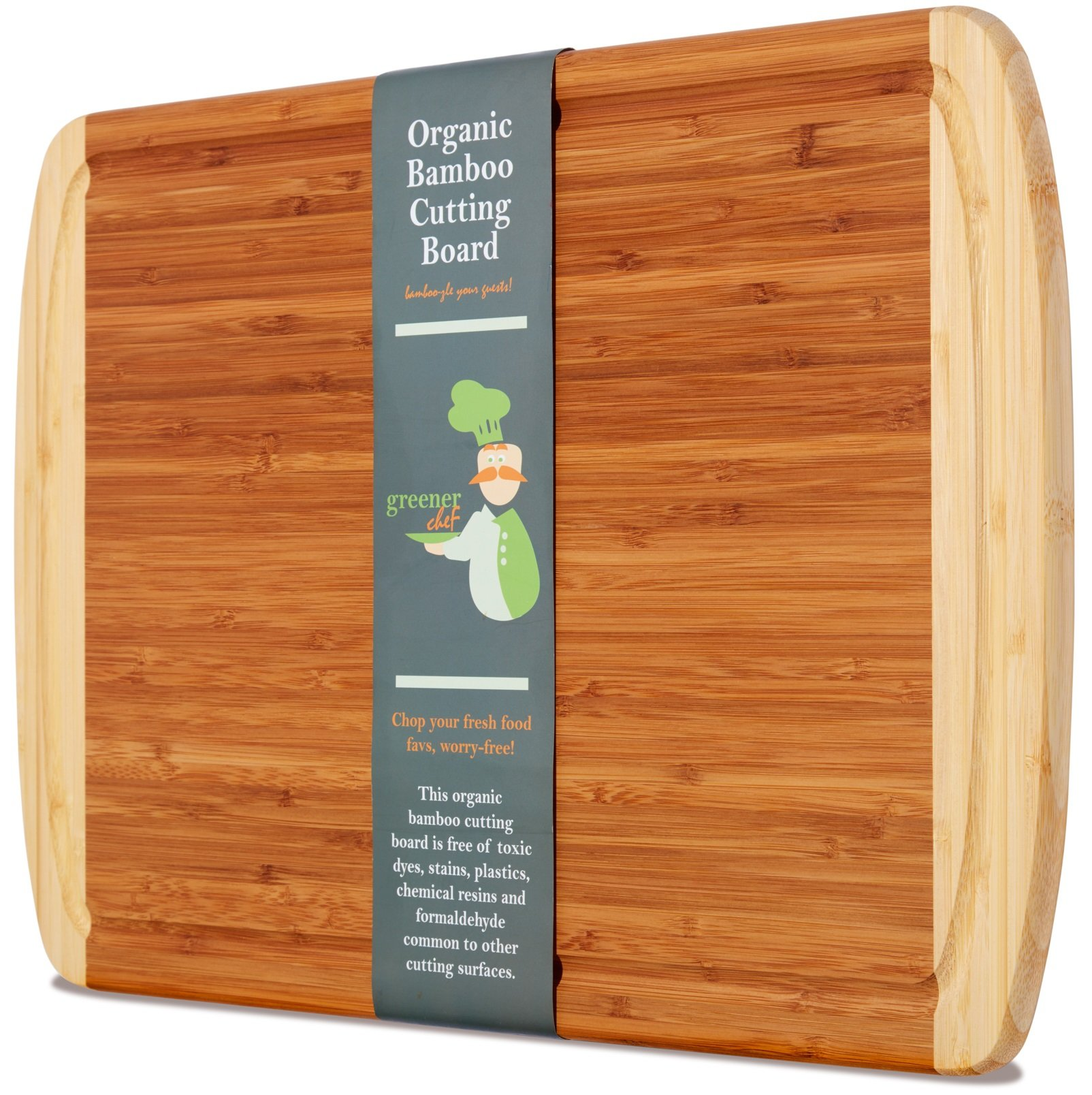 Extra Large Organic Bamboo Cutting Board for Kitchen - NEW CRACK-FREE DESIGN - Best Wood Chopping Boards w/Juice Groove for Carving Meat, Wooden Butcher Block for Vegetables & Serving Tray for Cheese by Greener Chef (Image #1)