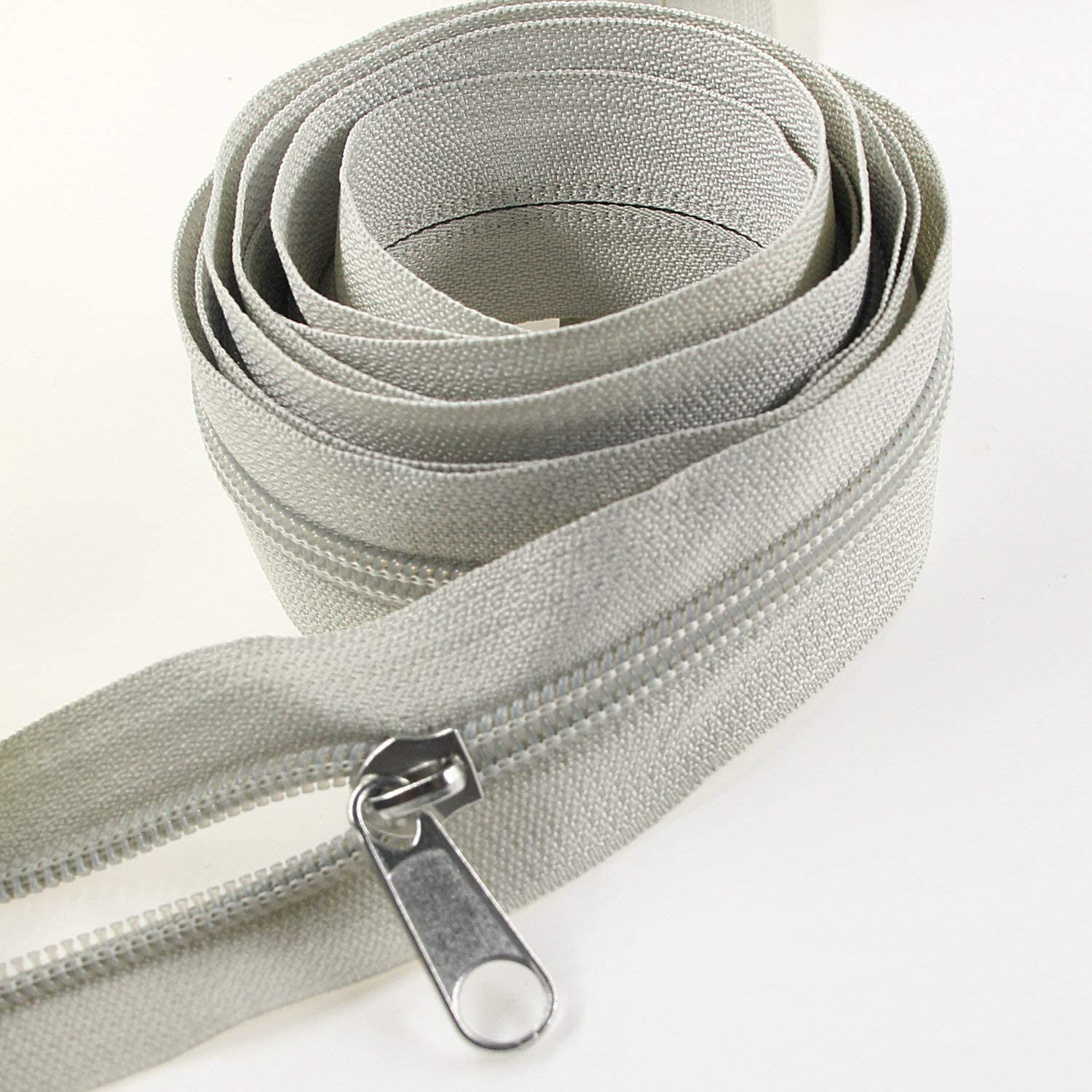 Gray #5 Gray Nylon Coil Zippers by The Yard Bulk 10 Yards with 25pcs Silver Sliders for DIY Sewing Tailor Craft Bag Leekayer