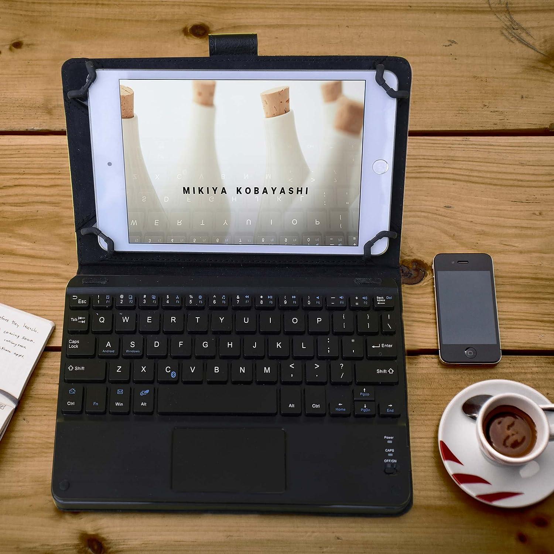 Cover Cooper TOUCHPAD Executive 2-in-1 Bluetooth Mouse Touch-Pad Windows Android Protettiva Pelle A Libro Viaggio Supporto con Cavalletto Custodia Tablet 9-10.5 Pollici Tastiera Wireless Blu