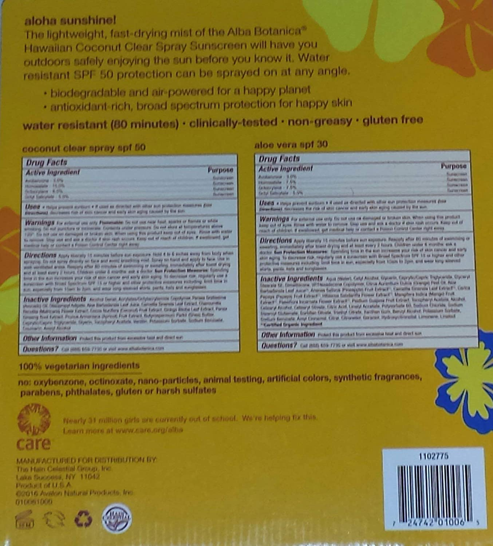 Alba Botanica Hawaiian Sunscreen Spray SPF50 with Travel Lotion SPF 30