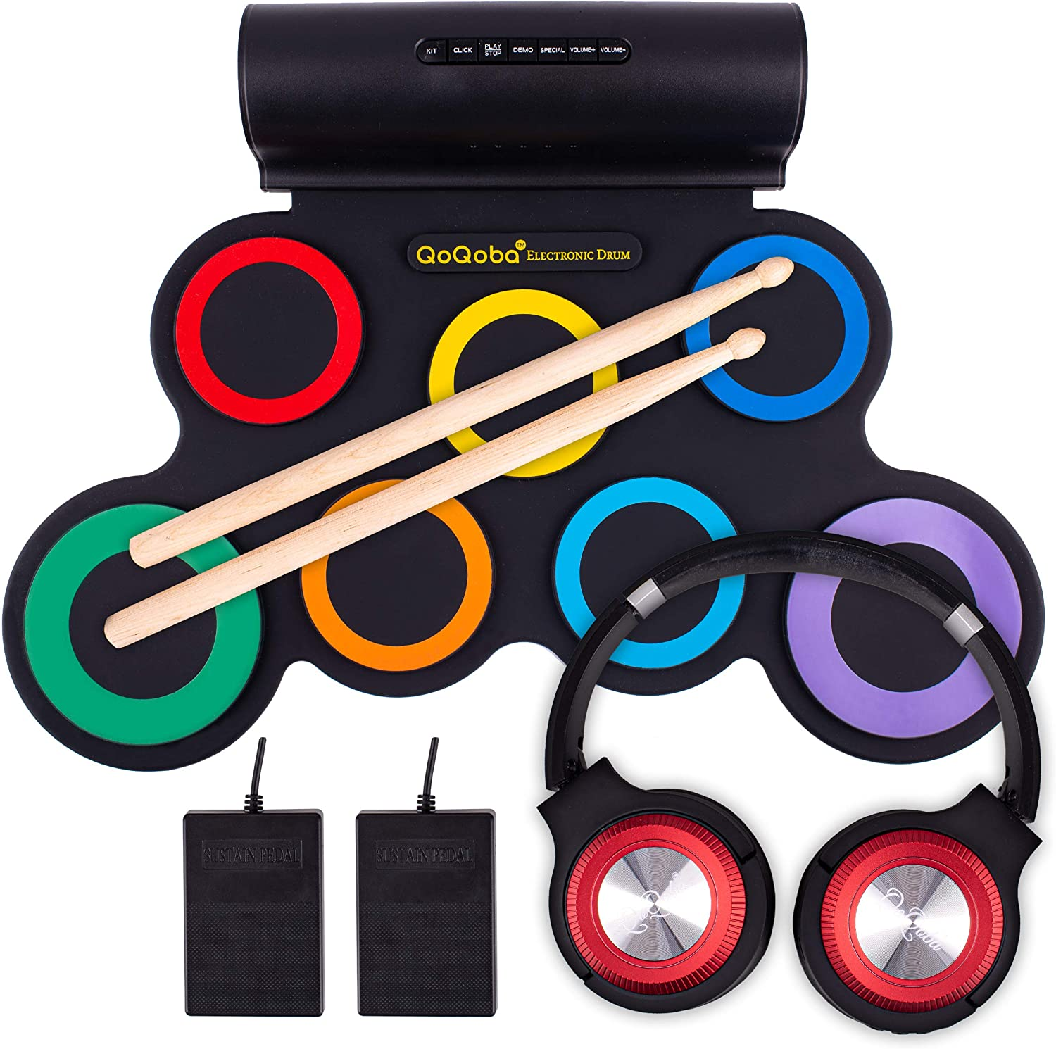 QoQoba Electronic Drum Set for Kids | Adult Beginner Pro MIDI Drum Practice Pad Kit Incl.